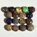Genuine 100% Natural Cabochon Crystal Welo Black Opals (17) 6.02cts 4.8mm to 5.0mm Round