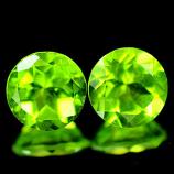 Genuine 100% Natural (2) Peridot 2.85ct 7.0 x 7.0mm Thailand SI