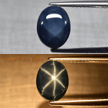 Genuine Cabochon 6 Ray Blue Sapphire 2.87ct 9.5 x 7.3mm Oval Opaque Thailand