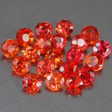 Genuine Set ORANGE & RED SAPPHIRES (20) 1.95cts 2.7 x 2.7 x 2.0mm Round