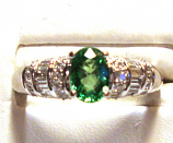 Tsavorite Garnet 14k White Gold Engagement Ring 1/2cts of Diamonds Size 7.00
