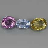 Genuine (3) Sapphires 2.24ct 7x5mm & 6x4mm SI1 Madagascar