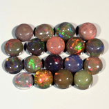 Genuine Set of 18 Crystal Welo Cabochon Black Opal 6.00ct 4.8 to 5.0mm Round