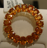 Orange Sapphire Gold Pendant 3.5cts 14K Yellow Gold (Certified)