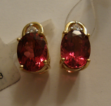 Rubellite (Red) Tourmaline Gold Earrings 2.06cts 14K Yellow Gold (Certified)