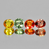 Genuine (4) Multi Color sapphires 1.41cts 4.0x4.0 VVS Tanzania