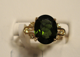Green Tourmaline Gold Ring 2.35ct 14K Yellow Gold Size 7.0 (Certified)