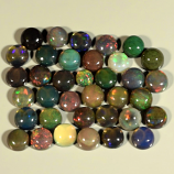 Genuine Set of 36 Crystal Welo Cabochon Black Opal 6.03ct 3.0 to 4.0mm Round