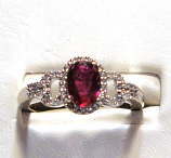 Ruby 14k White Gold Ring 1/5cts of Diamonds Size 7.00