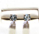 Blue Aquamarine Stud Earrings 4.0mm VS2 Clarity 18k White Gold
