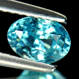 Genuine 100% Natural Blue Zircon 1.26ct 6.8x4.9mm VS1 Cambodia