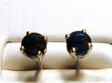 Genuine 5.0mm Blue Sapphire Stud Earrings VS Clarity 18k White Gold