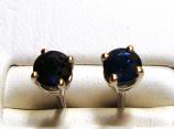 Blue Sapphire Stud Earrings 5.0mm VS Clarity 18k White Gold Screw Back