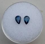 Genuine Blue Sapphire Pair .86ct 6.0 x 4.0mm Pear SI1 Clarity