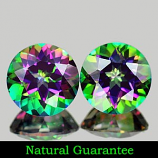 Genuine MYSTIC GREEN TOPAZ 3.11ct 7.1 x 7.1 x 4.8mm Round Pair