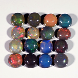 Genuine Set of 16 Crystal Welo Cabochon Black Opal 6.05ct 4.8 to 5.0mm Round