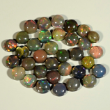 Genuine Set of 34 Crystal Welo Cabochon Black Opal 6.01ct 3.8 to 4.2mm Round