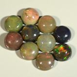 Genuine Set of 10 Crystal Welo Cabochon Black Opal 6.01ct 5.8 to 6.0mm Round