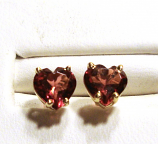 Rhodolite Garnet Heart Stud Earrings 6.0mm VVS Clarity 14k Yellow Gold