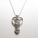 "18"" 14k White Gold Diamond Heart Necklace"