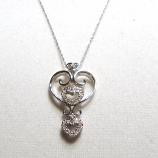 "18"" 14k White Gold Diamond Heart Necklace"