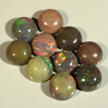 Genuine Set of 10 Crystal Welo Cabochon Black Opal 6.05ct 5.8 to 6.0mm Round